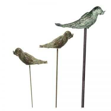 Bronze Small Bird With Stake
