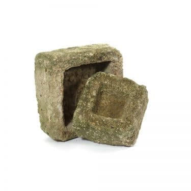 Hand Carved Stone Aged Square Planter
