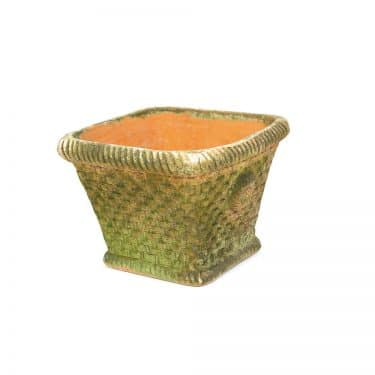 Large Aged Square Woven Planter