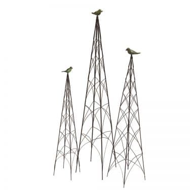 Wire & Bronze Bird Topiary Trellis