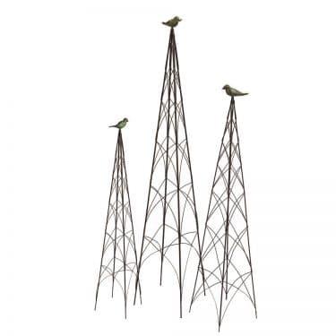 Wire & Bronze Bird Topiary Trellis