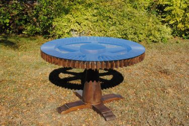 GEAR WHEEL DINING TABLE GLASS TOP